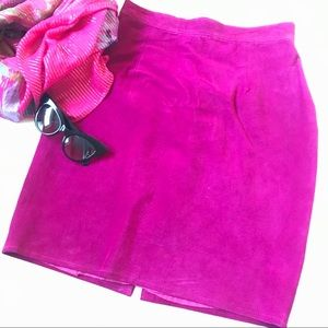 Anthony Michael suede leather hot fuchsia skirt